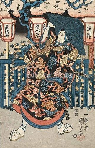 Utagawa Kuniyoshi: Die Vorsteherin im Freudenhaus (Aus dem Kabuki-Schauspiel Die Begegnung der Rivalen im Vergnügungsviertel). Um 1850