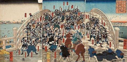 Utagawa Kuniyoshi: Die herrenlosen Samurai kehren über die Ryogoku-Brücke zurück. Um 1847