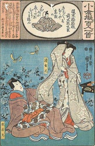 Utagawa Kuniyoshi: Der Großkanzler Gokyogoku Sadamasa und sein Gedicht Kirigiri zirpt das Heimchen sowie die Nonne Seigenni, die träumt, dass Matsuwaka nach ihrem Ärmel greift (Gedicht 91 aus der Serie Imaginierte schauspielerische Darstellungen der 100 Ogura-Gedichte). 1847