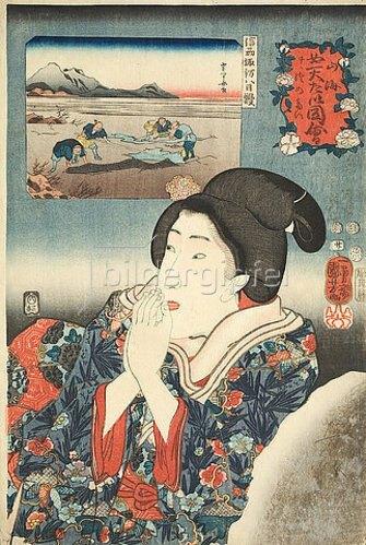Utagawa Kuniyoshi: Die Provinz Shinano (Blatt 20 aus der Serie Die Schätze von Bergen und Seen). 1852