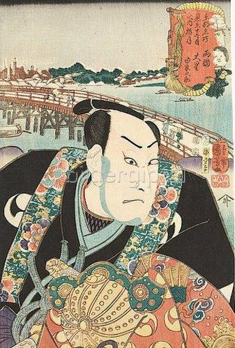 Utagawa Kuniyoshi: Der 1. Monat: Die Ryogoku-Brücke und der getreue Gefolgsmann Oboshi Yuranosuke (Aus der Serie Imaginierte schauspielerische Darstellungen der berühmten Ansichten der östlichen Hauptstadt im Laufe der zwölf Monate). 1852