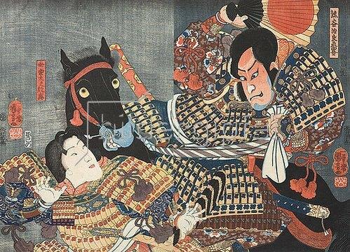Utagawa Kuniyoshi: Naozane tötet Atsumori (Aus dem Kabuki-Schauspiel Keimendes Grün auf dem Schlachtfeld von Ichinotani). 1852