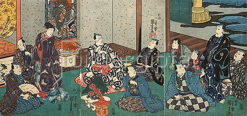 Utagawa Kuniyoshi: Gäste bei Danjuro VIII. Um 1850