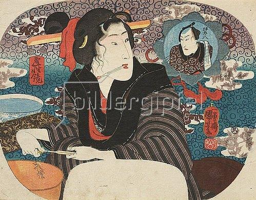 Utagawa Kuniyoshi: Sie passen ideal zueinander (Aus der Serie Spiegel der Liebe). Um 1848