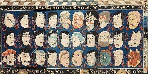 Utagawa Kuniyoshi: Glückbringende männliche und weibliche Schauspielmasken. Um 1850