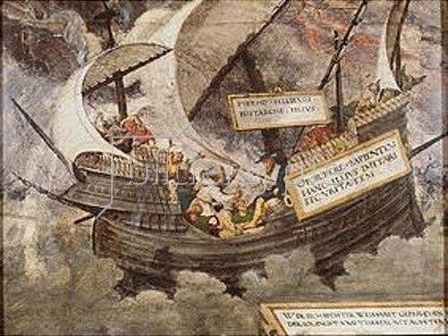 Petrarca-Meister: Der Gleichmut des Philosophen Pyrrhon im Sturm.  Feder, Deckfarben auf Pergament