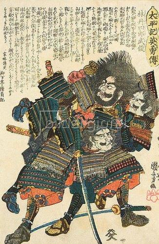 Utagawa Kuniyoshi: Hayashi Tanshiro Taketoshi besiegt zwei Gegner in seinem letzten Kampf bei Uchideno Hama (1582) (Aus der Serie Heldengeschichten aus dem Taiheiki). Um 1848