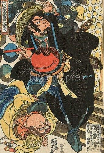 Utagawa Kuniyoshi: Sekishu bezwingt den Mönch Haijokai (Blatt 33 aus der Serie Ein jeder der 108 Räuber vom Liang-Schan-Moor). Um 1827
