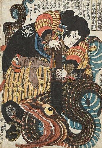 Utagawa Kuniyoshi: Jiraiya besiegt die Riesenschlange (Aus der Serie Ein jeder der 108 Helden aus dem Suikoden-Roman unseres Reichs). Um 1843