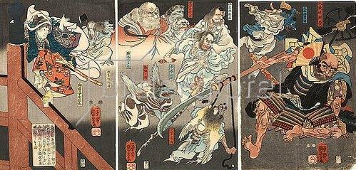 Utagawa Kuniyoshi: Auf der Brücke kämpfen Ushiwakamaru und der Tengu gegen Benkei. Um 1848