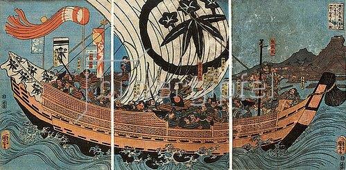 Utagawa Kuniyoshi: Tametomo und sein Gefolge auf ihrem Schiff, mit Oniyasha als Lotse. Um 1842