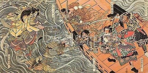 Utagawa Kuniyoshi: Yoshitsune und seine Getreuen werden in der Bucht von Dannoura von den rachsüchtigen Geistern der Taira angegriffen (Aus einer unbetitelten Serie von Schlachtendarstellungen). Um 1819