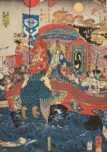 Utagawa Kuniyoshi: Das Flaggschiff der Taira und das Ende von Kaiser Antoku. Um 1850