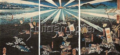 Utagawa Kuniyoshi: Moritsuna stürmt die Festung von Kojima. Um 1849