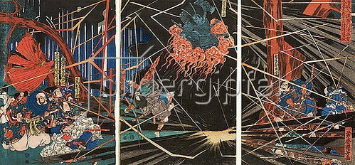 Utagawa Kuniyoshi: Der Rachegeist des Yoshihira erschlägt Namba Jiro mit einem Blitz (Aus dem Kabuki-Schauspiel Minamoto und Taira am Wasserfall von Nunobiki). 1845