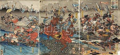 Utagawa Kuniyoshi: Der Kampf zwischen Shingen und Kenshin (Aus der Serie Die Schlachten von Kawanakajima [1553-1563]). 1845