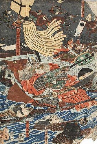 Utagawa Kuniyoshi: Der Kampf zwischen Shingen und Kenshin (Aus der Serie Die Schlachten von Kawanakajima [1553-1563]) - linke Seite von 38247. 1845