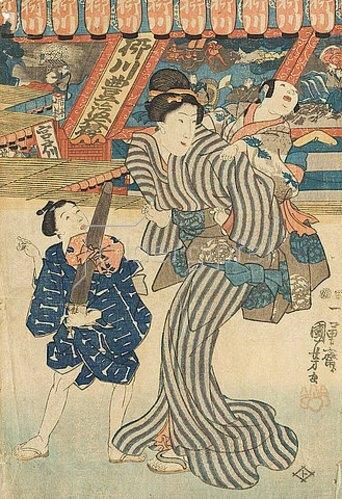 Utagawa Kuniyoshi: Eine Amme mit Kindern bei den Verkaufsläden im Kinryu-Tempel. Um 1850