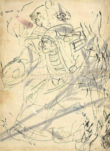 Utagawa Kuniyoshi: Studie einer anstürmenden Figur (recto) Studie eines Bambus (verso). Um 1842