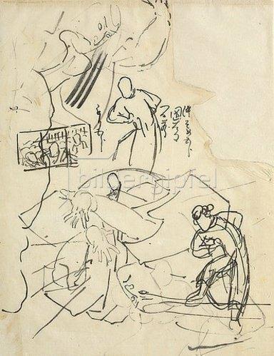 Utagawa Kuniyoshi: Studien mit Figuren und Skizzen eines Triptychons (recto) Figurenstudie; Notizen: die Mitte färben / Kuniyoshi / mehr nach unten (verso).
