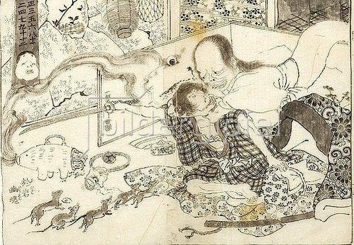 Utagawa Kuniyoshi: Der Geist der Oiwa kehrt zurück zu ihrem Mann. Um 1825