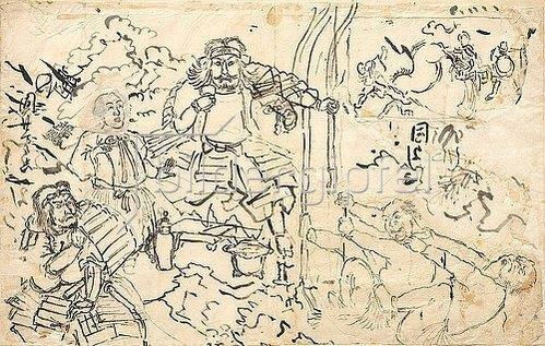 Utagawa Kuniyoshi: Studie zur Erzählung Die zwei Bogenspanner am Bogen des Tametomo (links); Skizze für das Diptychon Die starke Frau Okane aus der Provinz Omi (rechts oben). Um 1835