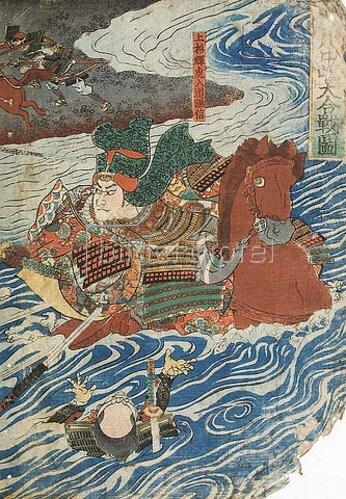 Utagawa Kuniyoshi: Der Kampf zwischen Shingen und Kenshin (Aus der Serie Die Schlachten von Kawanakajima [1553-1563]) - rechte Seite von 38212. 1845