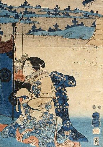 Utagawa Kuniyoshi: Ein Fest im Freien mit Bogenschießen im Hintergrund - Recto von 38219. Um 1848