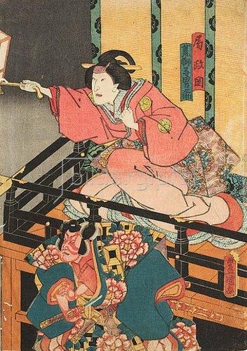 Utagawa Kunisada: Die Amme Masaoka und der treue Otokonosuke jagen den in eine Ratte verwandelten Nikki Danjo (Fünfter Akt aus dem Kabuki-Schauspiel Kostbarer Weihrauch und Herbstblüten in Sendai). 1849