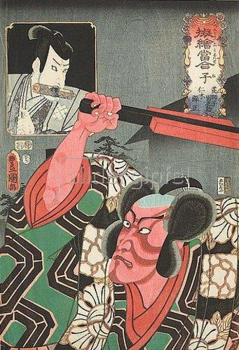Utagawa Kunisada: Die Ratte: Ichikawa Danjuro VIII. als Otokonosuke und Ichikawa Ebizo V. (früher Danjuro VII.) als Nikki Danjo (Aus der Serie Imaginierte schauspielerische Darstellungen der älteren und jüngeren Tierkreiszeichen). 1852
