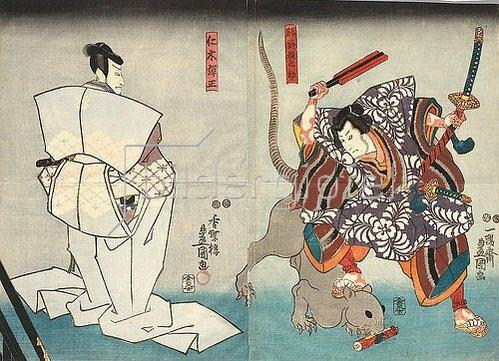 Utagawa Kunisada: Nikki Danjo hat Rattengestalt angenommen (Fünfter Akt aus dem Kabuki-Schauspiel Kostbarer Weihrauch und Herbstblüten in Sendai). Um 1847