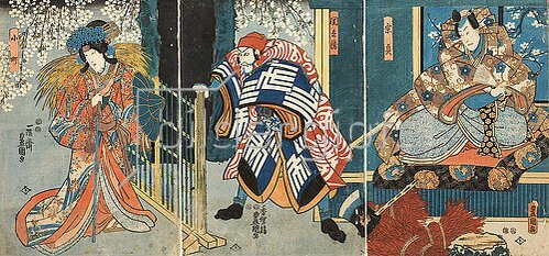 Utagawa Kunisada: Munesada, Kuronushi und Komachi am Pass von Ausaka (Aus dem Kabuki-Schauspiel Die junge Dichterin Onono Komachi in zwölf Lagen festlicher Seide). 1850