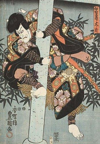 Utagawa Kunisada: Ichikawa Ebizo V. (früher Danjuro VII.) in der Rolle des Kraftprotzes Igasotaro (Aus dem Kabuki-Schauspiel Blütenbedeckt das Tor zum Palais im Osten). 1848