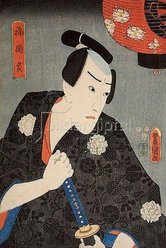 Utagawa Kunisada: Danjuro VIII. als Fukuoka Mitsugi (Aus dem Kabuki- Schauspiel Die Tänze von Ise). 1852