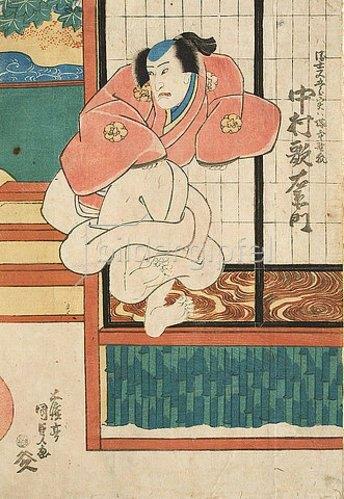Utagawa Kunisada: Nakamura Utaemon in der Rolle des Ukiyo Matagoro, der in Wirklichkeit ein Fuchs vom  Friedhof ist (Aus dem Kabuki-Schauspiel Wenn der Schnee fällt in den Bergen von Yoshino). 1840