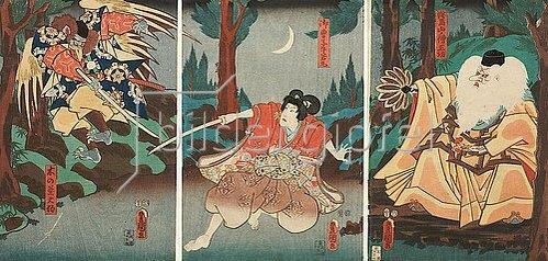 Utagawa Kunisada: Tengu-Abtkönig Sojobo erteilt Ushiwakamaru Fechtunterricht. 1856