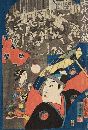 Utagawa Kunisada: Sawamura Gennosuke III. (später Danjuro IX.) in der Rolle des Sukeroku (Aus der Serie Vergangene Zeiten im Spiegel unserer Tage). 1860