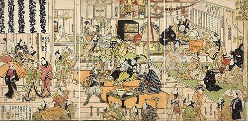 Utagawa Kunisada: Die Ruheräume im Inneren des Theaters Nakamuraza in Edo bei ausverkauftem Haus. 1812
