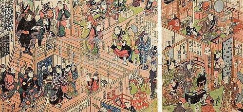 Utagawa Kunisada: Blick vom zweiten Stockwerk ins Innere des Ichimura-Theaters in Edo. Um 1823