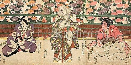 Utagawa Kunisada: Die Hauptdarsteller Nakumara Utaemon und Onoe Baiko (Aus dem Kabuki-Schauspiel Meister Kiichis Vademecum der Kriegskunst). Um 1815