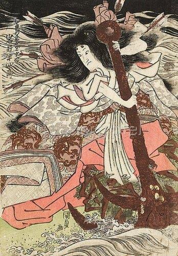 Utagawa Kunisada: Iwai Hanshiro V. in der Rolle der Taira-Prinzessin Tamamushi Hime (Aus dem Kabuki-Schauspiel Die Tausend Kirschbäume). 1815