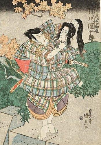 Utagawa Kunisada: Ichikawa Ebizo V. (früher Danjuro VII.) als Entomusha Morito mit dem Kopf der Kesa Gozen. Um 1833