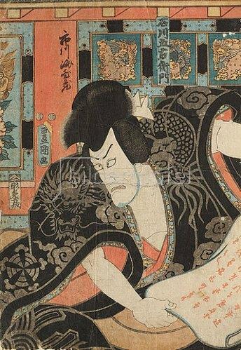 Utagawa Kunisada: Ichikawa Ebizo V. (früher Danjuro VII.) in der Rolle des Banditen Ishikawa Goemon (Aus dem Kabuki-Schauspiel Ewige Hilfe - der Strand von Masago). 1851