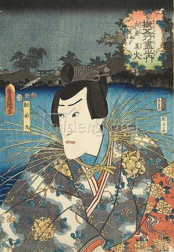 Utagawa Kunisada: Danjoro VIII. als Matsuwakamaru Chojuro in Das Element Feuer: Von den Lockfeuern der Kormoranfischer (Aus der Serie Imaginierte schauspielerische Darstellungen von Fünf-Elemente-Geschichten). 1852