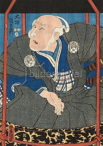 Utagawa Kunisada: Der Schauspieler Morita Kanya XI. als Otsubo Magozaemon in einer Sänfte (Aus dem Kabuki-Schauspiel Neues, unterhaltsam gewirktes Garn aus Kyushu). 1852