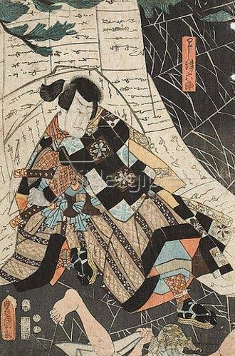 Utagawa Kunisada: Arashi Rikaku II. als Washizu Rokuro (Aus dem Kabuki-Schauspiel Elmsfeuer). 1853