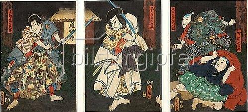 Utagawa Kunisada: Die Schauspieler der Premiere (Aus dem Kabuki-Schauspiel Gesetzlose im Vergnügungsviertel). 1854