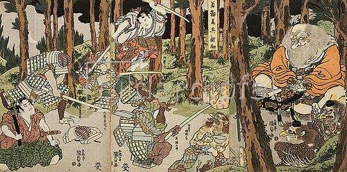 Utagawa Kunisada: Ushiwakamaru, der junge Yoshitsune, erhält Fechtunterricht. Um 1815