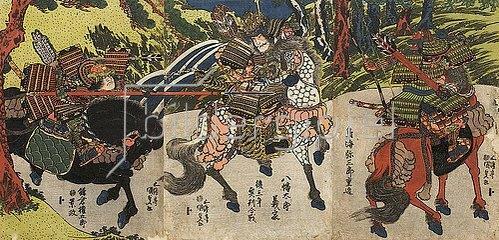 Utagawa Kunisada: Der Bogenschütze Chokai Misaburo trifft Kamakura Gongoro mit einem Pfeil ins Auge. Um 1820