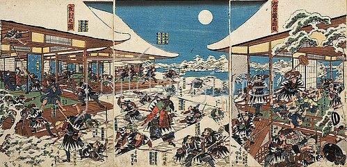 Utagawa Kunisada: Die Vollmondnacht des Angriffs der getreuen Samurai (Elfter Akt aus dem Kabuki-Schauspiel Vorlage zur Schönschrift: Ein Schatzhaus von getreuen Samurai). Um 1835